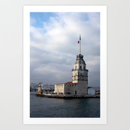 "Travel Photography ""Maiden Tower"" monument in Istanbul, Turkey. Colorful fine art. Photo print.  Art Print"