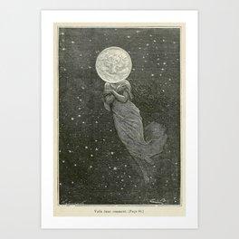 Antique Moon Woman Art Print