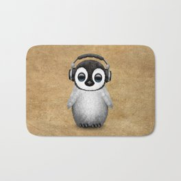Cute Baby Penguin Dj Wearing Headphones Bath Mat