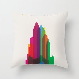 Shapes of Philadelphia accurate to scale Throw Pillow