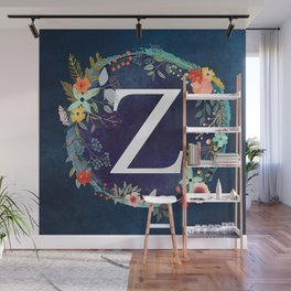 Personalized Monogram Initial Letter Z Floral Wreath Artwork Wall Mural