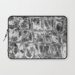 Alligator Skin // Black and White Worn Textured Pattern Animal Print Laptop Sleeve