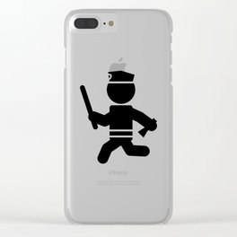 Police Stickman Clear iPhone Case