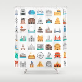 CUTE FAMOUS MONUMENTS PATTERN Shower Curtain
