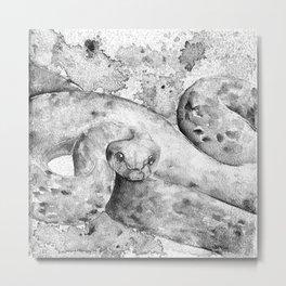 black and white : snake Metal Print