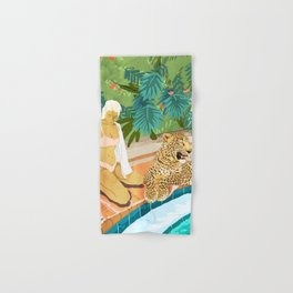 The Wild Side, Human & Nature Connection, Woman With Cheetah Cat, Tiger Painting Hand & Bath Towel