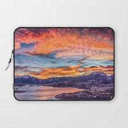 Sunset Pano // Beautiful Rocky Mountain Lake View Colorado Red Orange Sky Laptop Sleeve