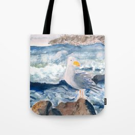 A Watercolor Seagull Named Fred (on Second Cliff in Scituate) Tote Bag