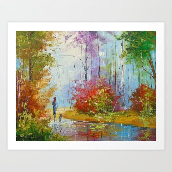 A walk in the autumn woods Art Print