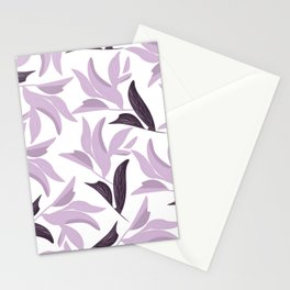 Abstract modern pastel lavender white leaves floral Stationery Cards