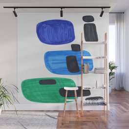 Mid Century Modern Abstract Minimalist Art Colorful Shapes Vintage Retro Style Blue Marine Green Wall Mural