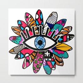 Greek Evil Eye Groovy Flower Metal Print