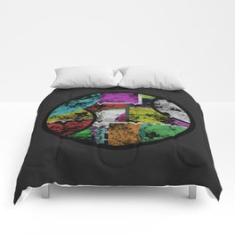 Pastel Porthole - Abstract, geometric, textured, pastel coloured artwork Comforters