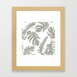 Simply Retro Gray Palm Leaves on White Framed Art Print