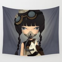 pilot Wall Tapestries featuring pilot by Anne  Martwijit