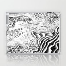 Suminagashi black and white marble spilled ink ocean swirl watercolor painting Laptop & iPad Skin