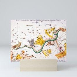 Antique Constellation Map of Pyxis, Hydra, Lupus, Centaurus, Antlia, Sextans, Crater, Corvus, Noctua Mini Art Print