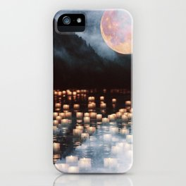 Fantasy lake with moonlight iPhone Case