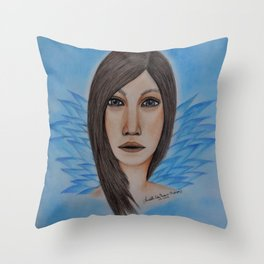 Strong Woman---colored pencil portrait drawing by Saribelle Throw Pillow