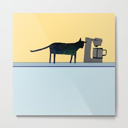 Cat on the Counter Metal Print