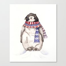 Baby Penguin in Red and Blue Scarf. Winter Season Canvas Print