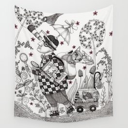 Mr. Hat goes to the Park Wall Tapestry