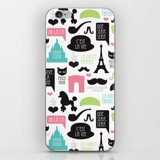 Vintage style Paris typography and illustration pattern iPhone & iPod Skin