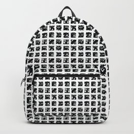 Black and white square monsters Backpack