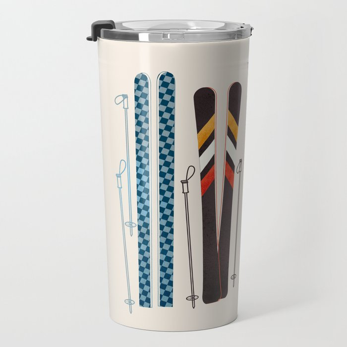 Retro Ski Illustration Travel Mug