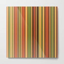 Retro Stripes - Mid Century Modern 50s 60s 70s Pattern in Green, Orange, Yellow, and Brown Throw Pillow Metal Print