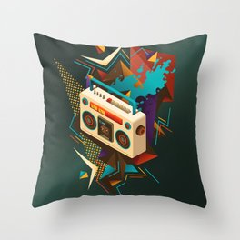 Bust Out The Jams Retro 80s Boombox Splash Throw Pillow