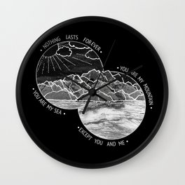 mountains-biffy clyro (black version) Wall Clock