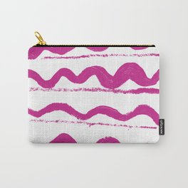 Simply hand painted pink stripes on white background 1-Mix and Match Carry-All Pouch