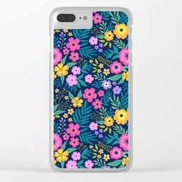 23 Amazing floral pattern with bright colorful flowers. Dark blue background. Clear iPhone Case