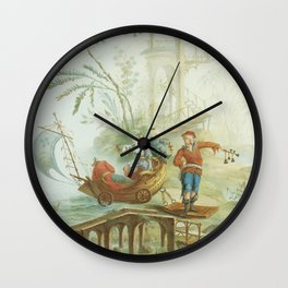 Light Green & Red Chinoiserie Wall Clock