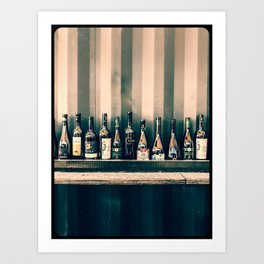 Grungy bar alcoholic drinks lineup on a wall Art Print