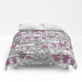 Paris toile raspberry Comforters