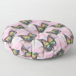 Les papillons de l'amour arc en ciel Floor Pillow