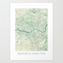 Newcastle upon Tyne Blue Vintage Art Print