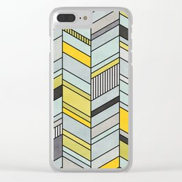 Colorful Concrete Chevron Pattern - Yellow, Blue, Grey Clear iPhone Case