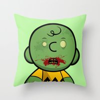 charlie brown Throw Pillows featuring Zombie Charlie Brown by rkbr