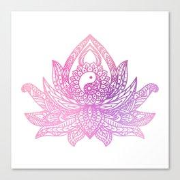 Watercolor Yin Yang Lotus Canvas Print