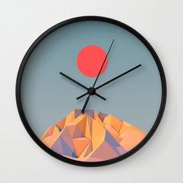 Sun on Mountain Wall Clock