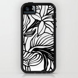 White Black Floral Minimalist iPhone Case