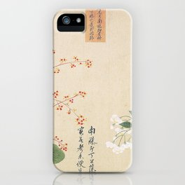 Japanese Botanical Ink and Brush Painting, Hand Drawing Flowers and Calligraphy iPhone Case
