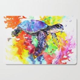 Sea Turtle in Coral Reef design, sea world colorful coral sea world design Cutting Board