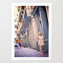 Blonde girl near an old building in Barcelona Art Print