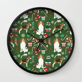 Beagle christmas pet friendly dog breed pattern present wrapping paper for dog lover Wall Clock