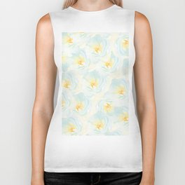 Watercolor hand painted pastel blue yellow floral pattern Biker Tank