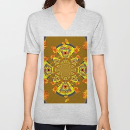 ABSTRACT SUNFLOWERS & BUTTERFLIES KHAKI ART Unisex V-Neck